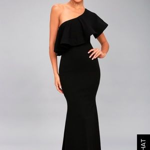 Black one shoulder LuLu dress.